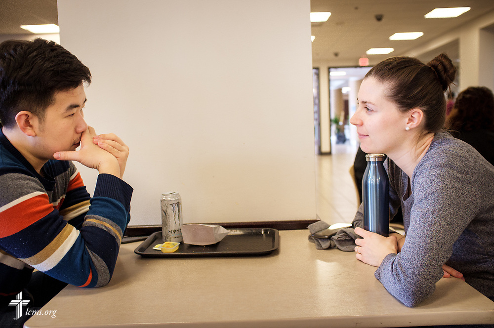 Rebecca Wagner, LCMS national missionary, talks with Juncheng, a Chinese student studying philosophy, on Wednesday, Feb. 21, 2018, at the University of Minnesota, Twin Cities, in Minneapolis. Wagner serves alongside The Rev. Kind at University Lutheran Chapel and focuses on outreach to international students.  LCMS Communications/Erik M. Lunsford
