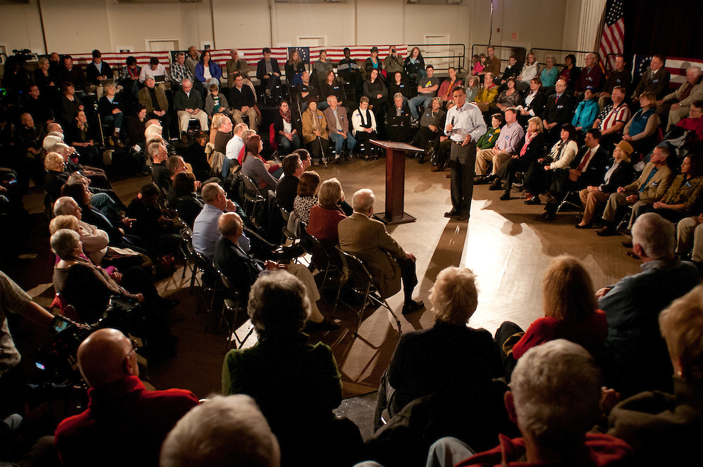 Presidential hopeful Mitt Romney holds a Town Hall event at the Peterborough Town House. 19th of November 2011