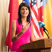Ambassador Nikki Haley, Permanent Representative of the United States to the United Nations, at a press conference at the United Nations in New York City, NY on August 25, 2017.