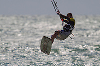 Chris Burns kitesurfing at The Buckle in Seaford, East Sussex. Chris is a Rugby player with Seaford Rugby Football Club.