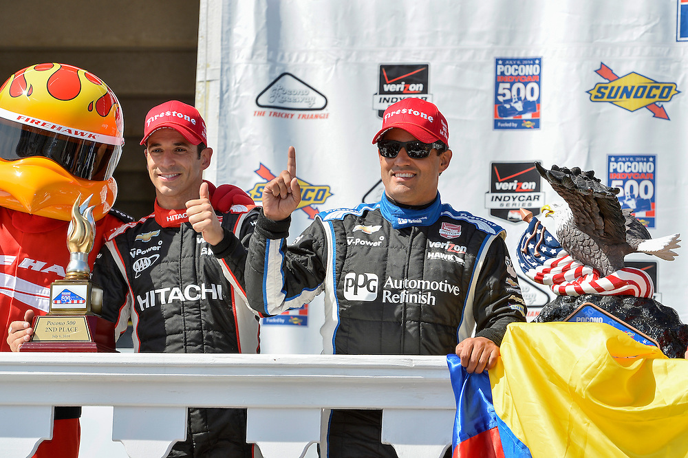 Juan Pablo Montoya, Helio Castroneves, Pocono Raceway, USA 7/6/2014