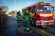 Paramedics and Kent Fire Services tackle a major fire at Morrisons supermarket in Folkestone, Kent. 8th November 2018. The fire started in the cafe chip fryer and spread rapidly through the store. 12 fire engines and two height vehicles attended the fire, it took over 8 hours to bring it under control. <br /> (photo by Andrew Aitchison / In pictures via Getty Images)