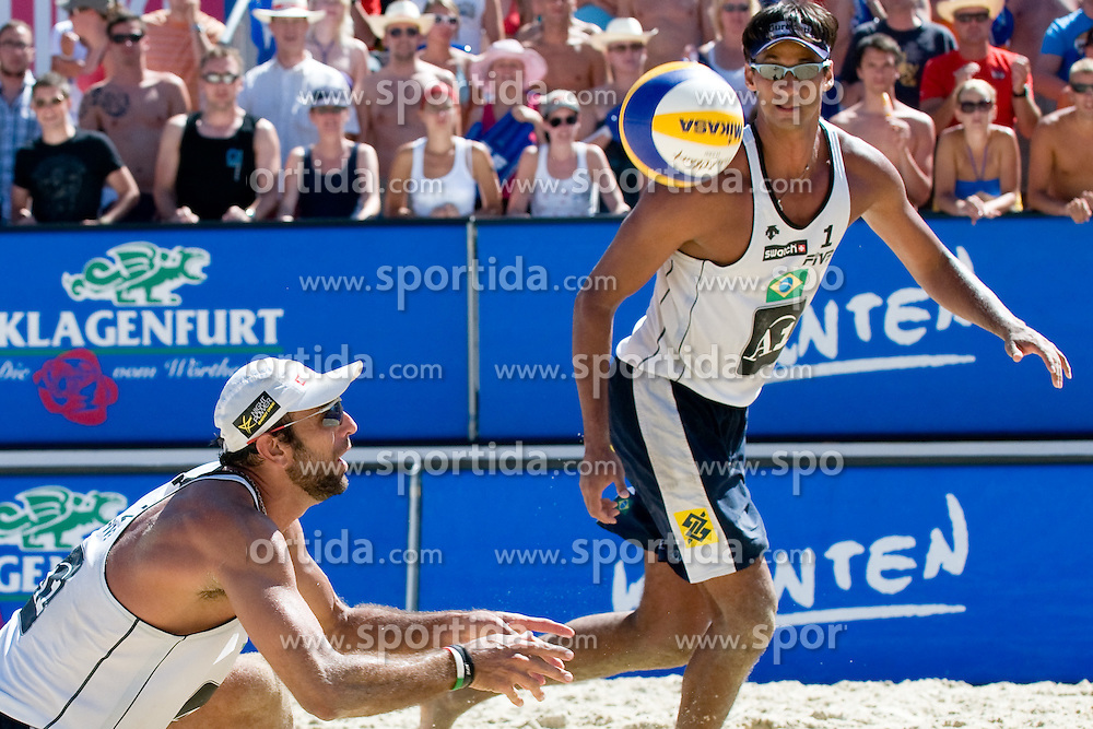 Marcio Araujo and Ricardo Costa Santos of Brazil at A1 Beach Volleyball Grand Slam tournament of Swatch FIVB World Tour 2010, semifinal, on August 1, 2010 in Klagenfurt, Austria. (Photo by Matic Klansek Velej / Sportida)