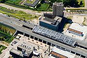 Nederland, Noord-Holland, Amsterdam-Noord, 29-06-2018; Buikslotermeer, Nieuwe Leeuwarderweg en Centrum Amsterdam Noord (CAN) rond eindpunt van Noord/Zuidlijn, Station Noord.<br /> North Station w environment, terminus new subway /underground. <br /> luchtfoto (toeslag op standard tarieven);<br /> aerial photo (additional fee required);<br /> copyright foto/photo Siebe Swart