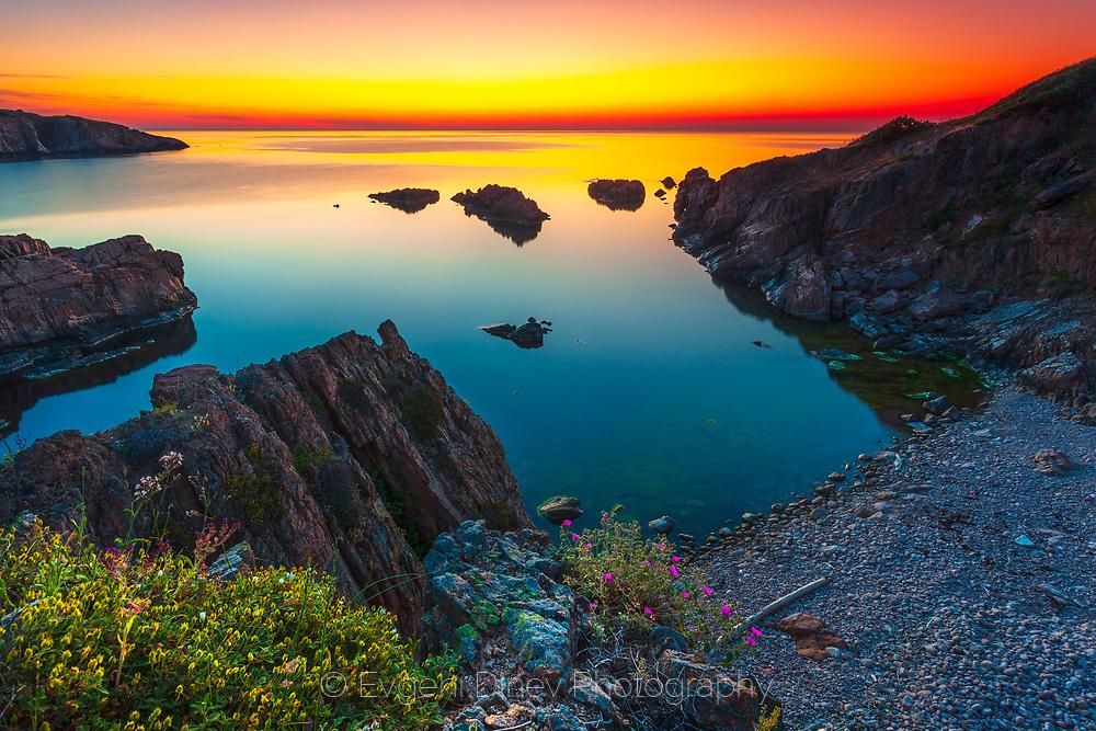 Small sea bay at sunrise