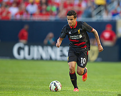 CHICAGO, USA - Sunday, July 27, 2014: Liverpool's Philippe Coutinho Correia in action against Olympiacos during the International Champions Cup Group B match at the Soldier Field Stadium on day seven of the club's USA Tour. (Pic by David Rawcliffe/Propaganda)