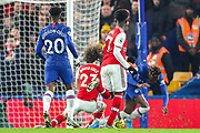 Arsenal defender David Luiz (23) fouls Chelsea forward Tammy Abraham (9) for a penalty during the Premier League match between Chelsea and Arsenal at Stamford Bridge, London, England on 21 January 2020.