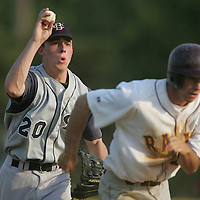 (SPORTS) West Windsor 6/8/2005 Starting pitcher Sean Driscoll gets involved in a rundown that caught G-Catholic's Kevin O'Hara in an important late inning play.    Michael J. Treola Staff Photographer.....MJT