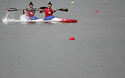 Singapore's Chen Jiexian Stephenie (R) and Seah Suzanne in action during women's Kayak Double (K2) 500m - Heat 2 Canoe Sprint at the Incheon Asian Games in Incheon, west of Seoul, September 27, 2014. Photo by Lee Jae-Won (SOUTH KOREA) www.leejaewonpix.com/