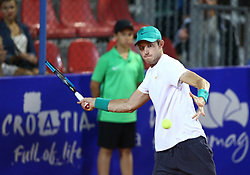 UMAG, July 18, 2018  Nicolas Jarry  of Chile hits a return against Martin Klizan of Slovakia during the first round of 2018 ATP Plava laguna Croatia Open Umag tennis tournamet in Umag, Croatia, on July 17, 2018. Martin Klizan won 2-0. (Credit Image: © Igor Soban/Xinhua/Xinhua via ZUMA Wire)