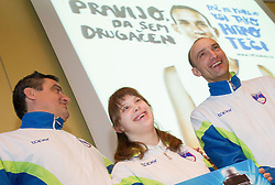 Ljubomir Milicevic, Larisa Bitici (CIRIUS Vipava) and Andrej Rauh (CUDV Crna) during press conference of Special olympic team of Slovenia before departure to Special Olympics PyeongChang 2013 in South Korea on January 24, 2013 in Hotel Mons, Ljubljana, Slovenia. he next Special Olympics World Games take place in PyeongChang, South Korea, 29 January to 5 February 2013. (Photo by Vid Ponikvar / Sportida.com)