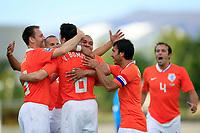 Fotball , 6. juni 2009 , VM-kvalifisering , Island - Nederland<br /> van bommel scoort de 0-2 en viert dat met o.a. nigel de jong andre ooijer en giovanni van bronckhorst<br /> <br /> Norway only