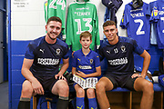 AFC Wimbledon goalkeeper Joe McDonnell (24), AFC Wimbledon goalkeeper Nicola Tzanev (13), Mascot during the EFL Sky Bet League 1 match between AFC Wimbledon and Rotherham United at the Cherry Red Records Stadium, Kingston, England on 3 August 2019.