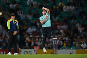 Moises Henriques of Surrey bowling during the NatWest T20 Blast South Group match between Surrey County Cricket Club and Warwickshire County Cricket Club at the Kia Oval, Kennington, United Kingdom on 25 August 2017. Photo by Dave Vokes.