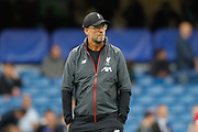 Liverpool manager Jurgen Klopp during the pre-match warm-up before the Premier League match between Chelsea and Liverpool at Stamford Bridge, London, England on 22 September 2019.