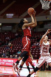 30 January 2015:  Tamya Sims leans in for a short shot with Katy Winge out of position to contest the shot during an NCAA women's basketball game between the Bradley Braves and the Illinois Sate Redbirds at Redbird Arena in Normal IL