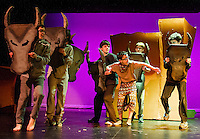 "Simba (Jesse Powers) is caught up in a stampede of bewildebeasts during dress rehearsal for Gilford Middle School's production of ""The Lion King"" Monday afternoon.  (Karen Bobotas/for the Laconia Daily Sun)"