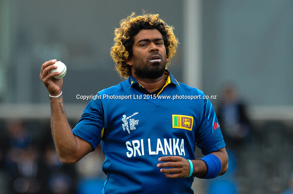 Lasith Malinga of Sri Lanka during the ICC Cricket World Cup match between New Zealand and Sri Lanka at Hagley Oval in Christchurch, New Zealand. Saturday 14 February 2015. Copyright Photo: John Davidson / www.Photosport.co.nz