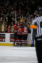 Feb 20, 2007; East Rutherford, NJ, USA; New Jersey Devils celebrate forward Travis Zajac's (9) game winning goal during the third period at Continental Airlines Arena in East Rutherford, NJ.
