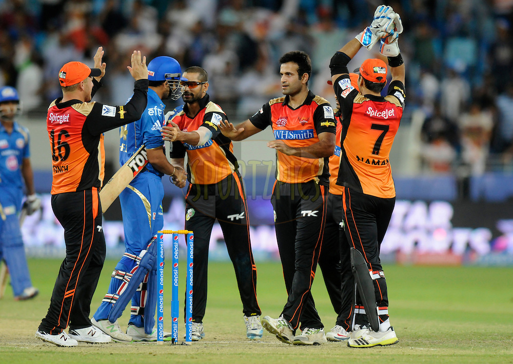 Irfan Pathan of the Sunrisers Hyderabad celebrate after winning match 20 of the Pepsi Indian Premier League Season 2014 between the Mumbai Indians and the Sunrisers Hyderabad held at the Dubai International Stadium, Dubai, United Arab Emirates on the 30th April 2014<br /> <br /> Photo by Pal Pillia / IPL / SPORTZPICS