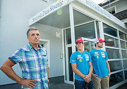 Vlado Makuc, Zan Kranjec and Misel Zerak at departure of Slovenian Men Ski Team to training camp in Argentina and Chile on August 21, 2014 in SZS, Ljubljana, Slovenia. Photo by Vid Ponikvar / Sportida.com
