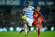 Nedum Onuoha of Queens Park Rangers in action. Barclays Premier league match, Queens Park Rangers v Leicester city at Loftus Road in London on Saturday 29th November 2014.<br /> pic by John Patrick Fletcher, Andrew Orchard sports photography.