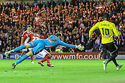 Albert Adomah scores Middlesborough third goal during the Sky Bet Championship Play Off Second Leg match between Middlesbrough and Brentford at the Riverside Stadium, Middlesbrough, England on 15 May 2015. Photo by Simon Davies.
