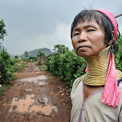 Portrait of a Padaung woman, Loikaw area, Myanmar, Asia