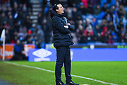 Unai Emery of Arsenal (Manager) looks on during the Premier League match between Huddersfield Town and Arsenal at the John Smiths Stadium, Huddersfield, England on 9 February 2019.