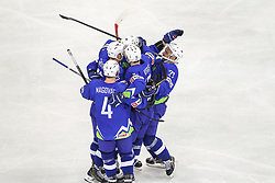 Players of Slovenia celebrate during Ice Hockey match between National Teams of Hungary and Slovenia in Round #3 of 2018 IIHF Ice Hockey World Championship Division I Group A, on April 25, 2018 in Arena Laszla Pappa, Budapest, Hungary. Photo by David Balogh / Sportida