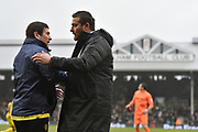Burton Albion manager Nigel Clough and Fulham manager Slavisa Jokanovic greet each other pitch-side during the EFL Sky Bet Championship match between Fulham and Burton Albion at Craven Cottage, London, England on 20 January 2018. Photo by Richard Holmes.