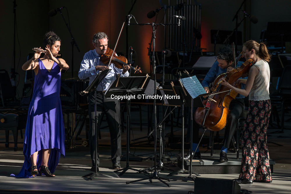"Alex Sopp (flute), Colin Jacobsen (violin), Eric Jacobsen (cello), and Miranda Sielaff (viola) perform Andrew Norman's ""Light Screens"" at the 68th Ojai Music Festival at Libbey Bowl on June 14, 2014 in Ojai, California."