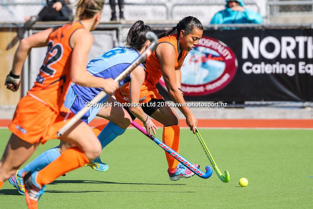 Oriwa Hepi with the ball. NHL Womens Hockey. Northland v Midlands. Whangarei. New Zealand. 12 September 2015. Copyright Photo: Heath Johnson / www.photosport.nz