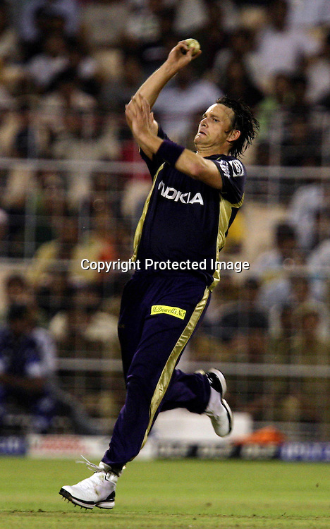 Kolkata Knight Riders Fast Bowler Shen Bond In Bowling Action  During Kolkata Knight Riders vs Deccan Chargers Match In Indian Premier League - 30th match Twenty20 match | 2009/10 season Played at Eden Gardens, Kolkata  1 April 2010 - day/night (20 over match)
