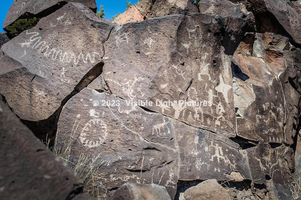 Petroglyphs along a hillside in Santa Fe, New Mexico, USA