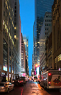 Twilight on street of Manhattan.