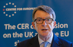 Image ©Licensed to i-Images Picture Agency. 11/06/2014. London, United Kingdom. Lord Mandelson launches EU economic report. Picture by Anthony Upton / i-Images<br /> <br /> Lord Mandelson, Chairman, Global Counsel, former European Commission for Trade, and former Secretary of State for Business, Innovation and Skills and Lord John Kerr, Chairman of the the CER Advisory Board at the launch of the final report of the Centre for European Reform (CER) commission on the UK and the EU single market 'The economic consequences of leaving the EU'