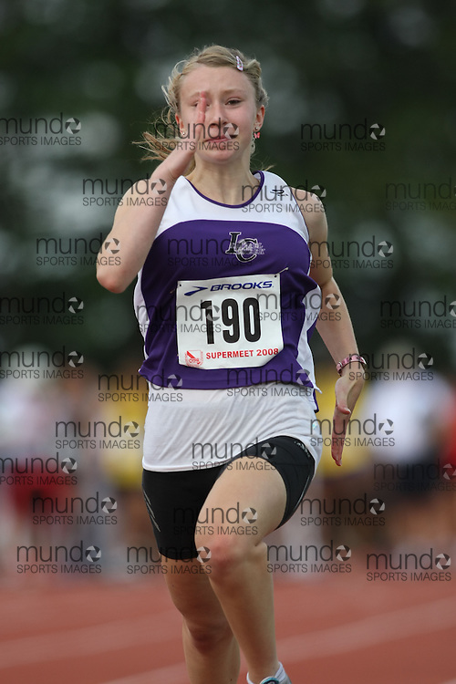 (Toronto, Ontario---2 August 2008)  Monica Mazur competing in the 100m heats at the 2008 OTFA Supermeet II, the Bantam, Midget, Youth Track and Field Championships. This image is copyright Sean W. Burges, and the photographer can be contacted at www.msievents.com.