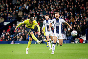 Blackburn Rovers midfielder Joe Rothwell (8) shoots at goal during the EFL Sky Bet Championship match between West Bromwich Albion and Blackburn Rovers at The Hawthorns, West Bromwich, England on 27 October 2018.