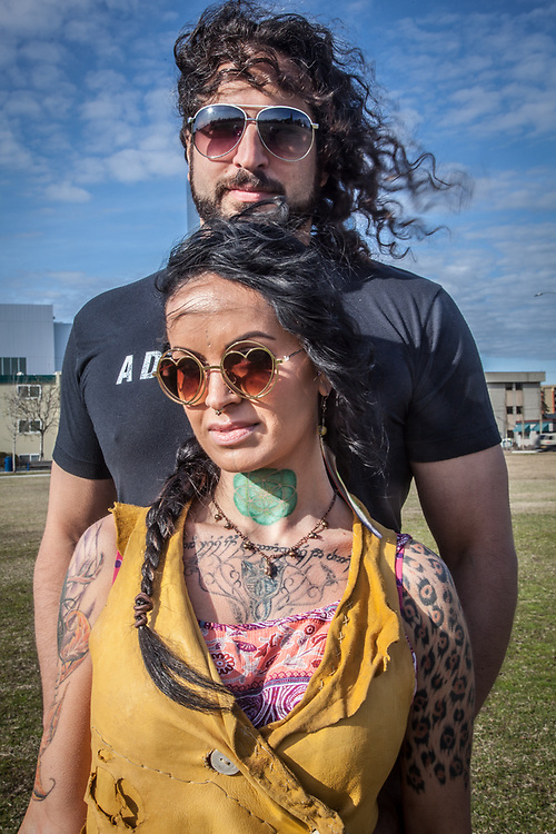 "Tattoo artist Ayla Reynolds with musican David Naathanson on the Delaney Park Strip, Anchorage.   ""I like to keep my life colorful."""