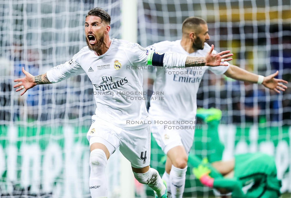 28-05-2016 ITA, UEFA CL Final, Atletico Madrid - Real Madrid, Milaan<br /> Sergio Ramos of Real Madrid react after Sergio Ramos of Real Madrid scored first goal for Real <br /> <br /> ***NETHERLANDS ONLY***