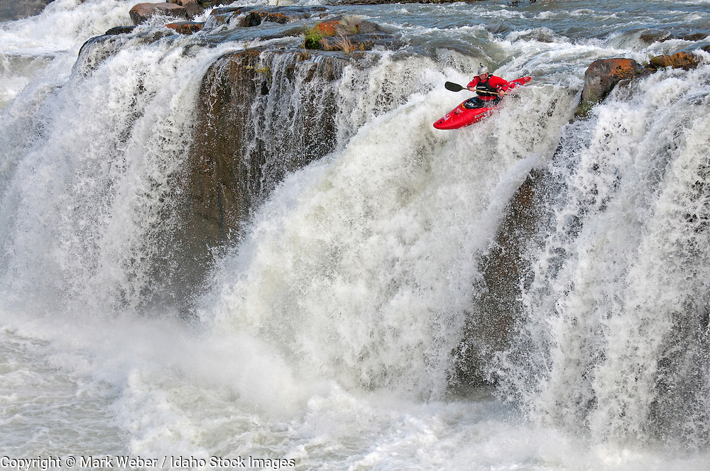 Ted Keyes kayaking Star Falls which is rated Class 6 on the Murtaugh section of The Snake River near the town of Murtaugh in southern Idaho