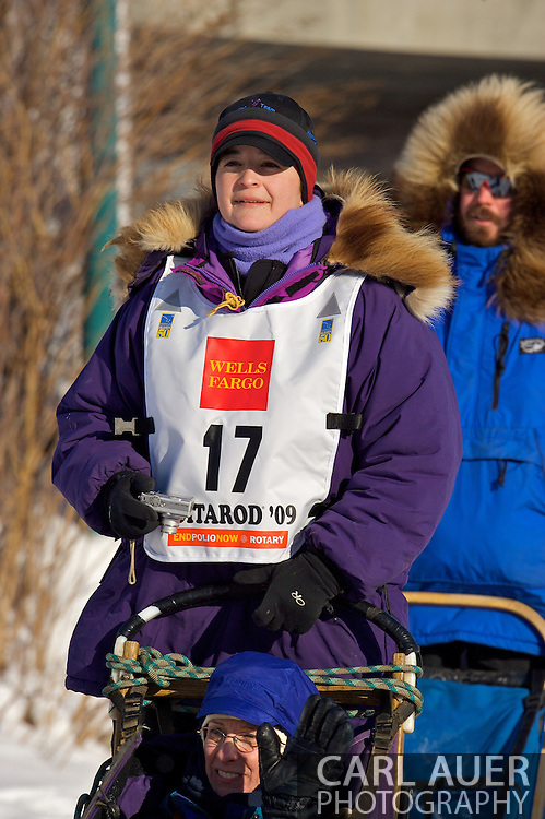 March 7th, 2009:  Anchorage, Alaska - Jessie Royer out of Fairbanks, Alaska comes through a pedestrian tunnel near the Alaska Native Hospital during the Ceremonial Start of the 2009 Iditarod.