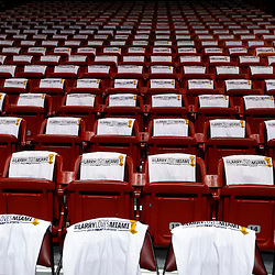 Jun 9, 2013; Miami, FL, USA;  T-shirts on the seats prior to game two of the 2013 NBA Finals between the Miami Heat and the San Antonio Spurs at the American Airlines Arena. Mandatory Credit: Derick E. Hingle-USA TODAY Sports