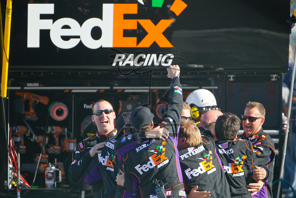 AVONDALE, AZ - MAR 04, 2012:  With only two races with a new crew chief, Denny Hamlin (11), wins the Subway Fresh Fit 500 race at the Phoenix International Raceway in Avondale, AZ.