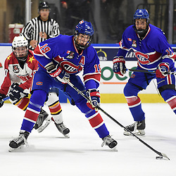 BUFFALO, NY - SEP 20,  2017: Ontario Junior Hockey League Governors Showcase game between the Toronto Jr. Canadiens and Wellington Dukes, Jack McBain #19 of the Toronto Jr. Canadiens shoots the puck during the third period.<br /> (Photo by Andy Corneau / OJHL Images)