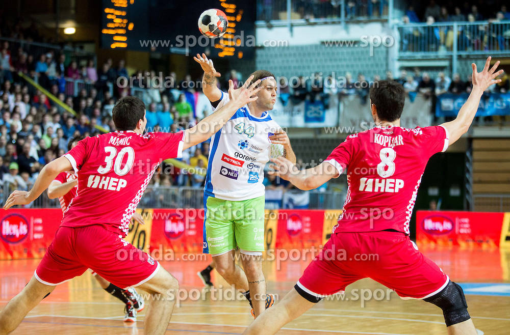 Dean Bombac of Slovenia vs Marko Mamic of Croatia and Marko Kopljar of Croatia during friendly handball match between National teams of Slovenia and Croatia as preparation game for European Championship in Poland, on January 9, 2016 in Arena Bonifika, Koper, Slovenia. Photo by Vid Ponikvar / Sportida