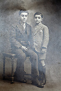classic vintage studio portrait with two boys
