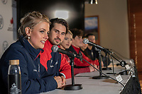 KELOWNA, BC - OCTOBER 26: Ice dance silver medalist Madison Hubbell of the USA speaks to the media at a press conference at Prospera Place on October 25, 2019 in Kelowna, Canada. (Photo by Marissa Baecker/Shoot the Breeze)