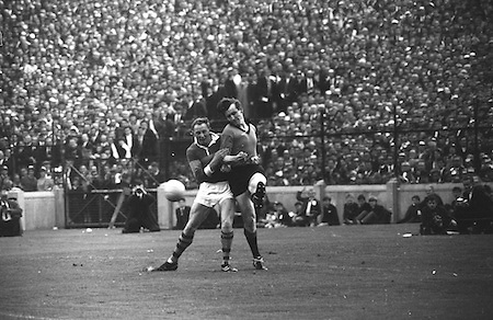 All Ireland Senior Football Championship Final, Kerry v Down, 22.09.1968, 09.22.1968, 22nd September 1968, Down 2-12 Kerry 1-13, Referee M Loftus (Mayo)..Down back gets despite attention from Kerry forward ,